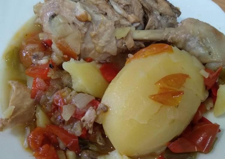 Pollo con patatas en la olla exprés a mi manera
