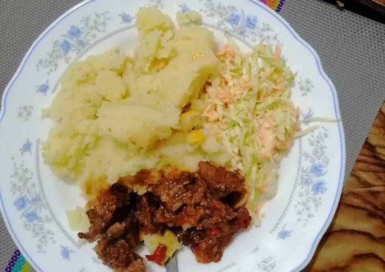 Mashed potato, beef fry and coleslaw