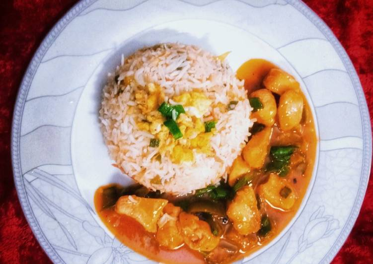 10 Minute Recipe of Spring Chicken Chilli Gravy with Egg Fried Rice!