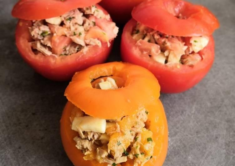 Recipe: Appetizing Tomates farcies thon/mozzarella