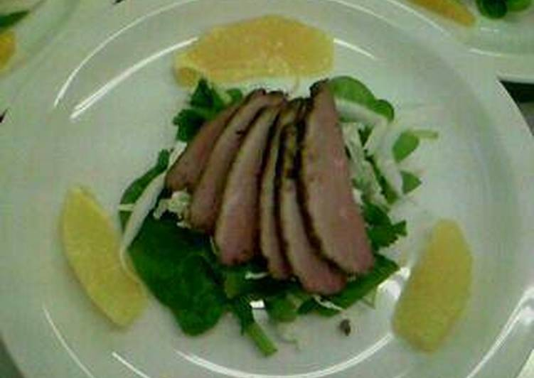 Duck and segmented orange salad