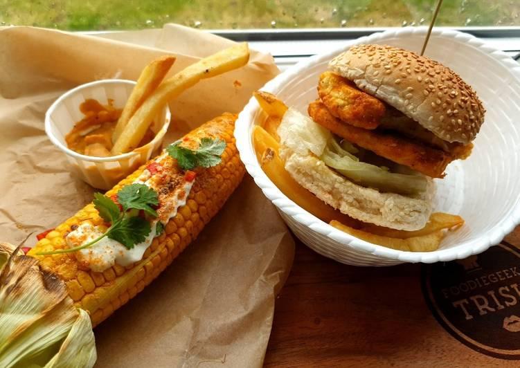 Recipe of Speedy Cauliflower and Halloumi Stack with a KFC style dressing