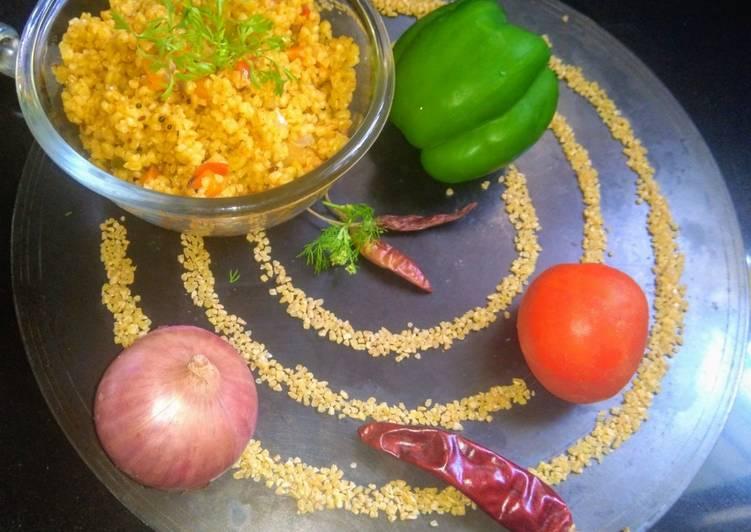 Grandmother's Dinner Easy Super Quick Homemade Veggie daliya upma