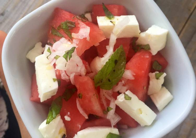 Comment Cuisiner Salade fraîcheur pastèque fêta
