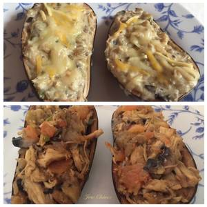 Berenjena rellena de pollo y bechamel & Berenjena rellena de pollo y tomate