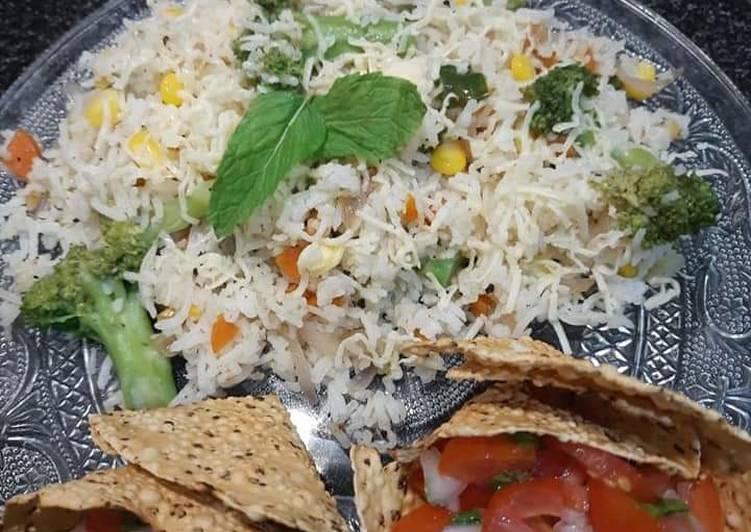 How to Prepare Favorite Broccoli sweet corn rice and masala papad