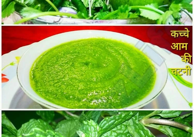 Steps to Prepare Favorite Kache aam aur dhaniya pudine ki chatani