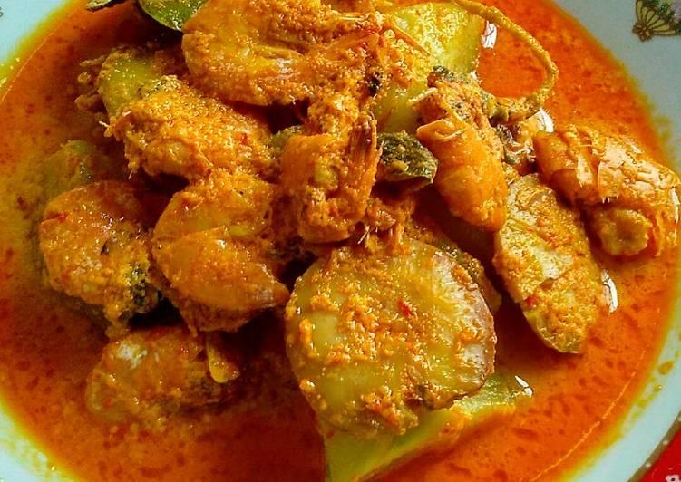 Gulai Udang Campur jengkol & Labu Siam Masak Padang