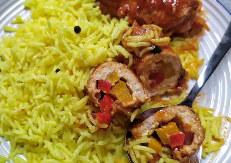 Briyani rice with chicken rolls