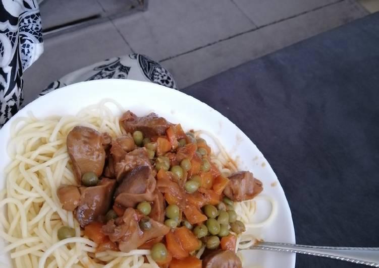Spaghetti + gizzards