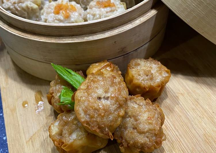 Fried and steam siu mai