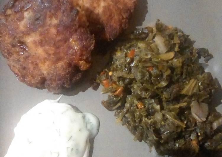 Recipe of Super Quick Homemade Fried Fresh Salmon w/kale & dandelion greens