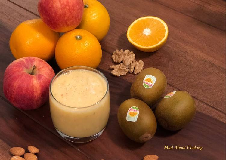 Fruit Smoothie With Dry Fruits – No Milk, No Curd Smoothie