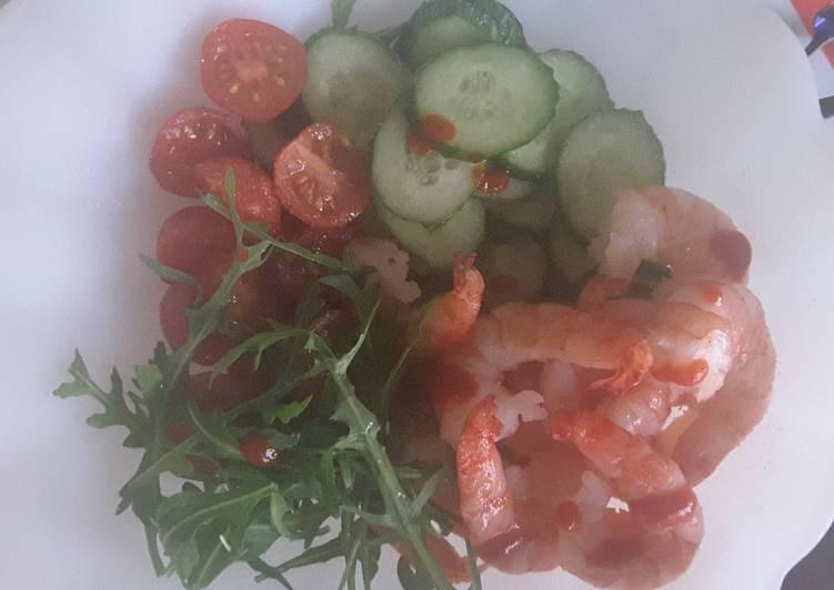 Crevettes tigrées en salade
