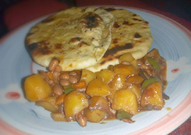 How to Prepare Any-night-of-the-week Naan bread nd potatoe with baked beans sauce