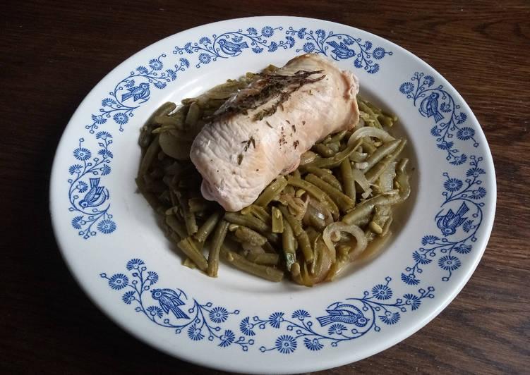 Paupiette de poulet au thym et haricots verts à la lyonnaise