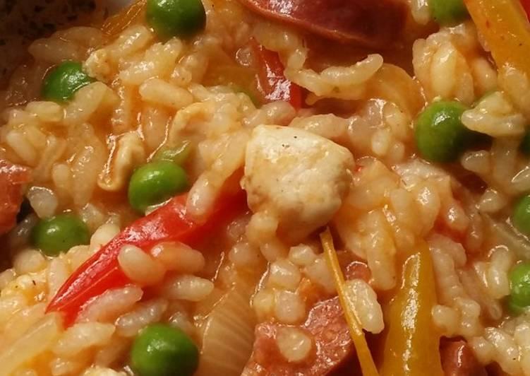 Recipe of Award-winning Vickys Chorizo & Chicken Risotto, GF DF EF SF NF