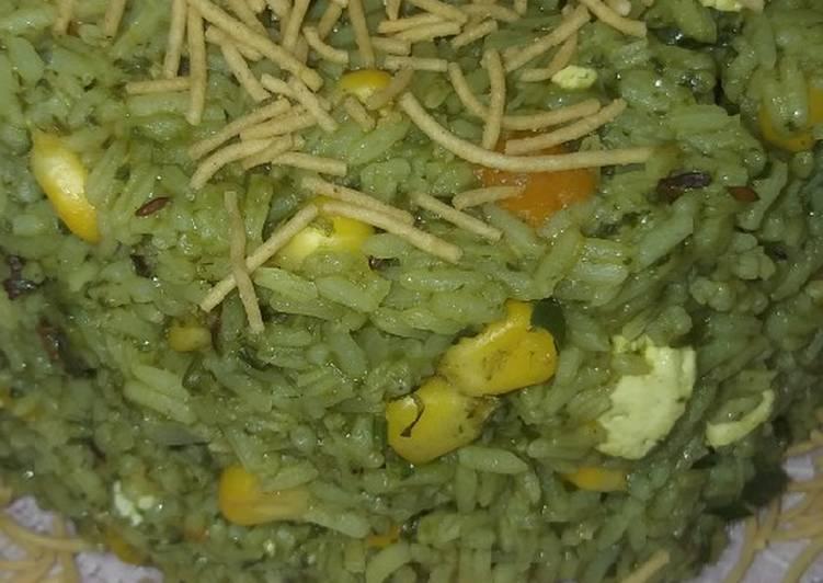 Corn paalak paneer rice