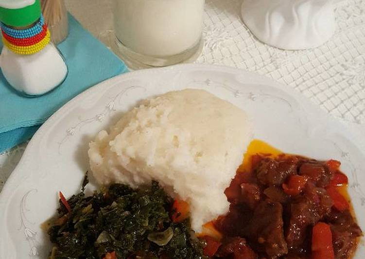Simple Way to Prepare Perfect Ugali,greens and mbuzi fry
