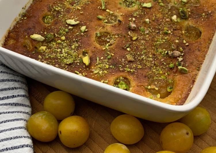 Clafoutis aux mirabelles et pistaches