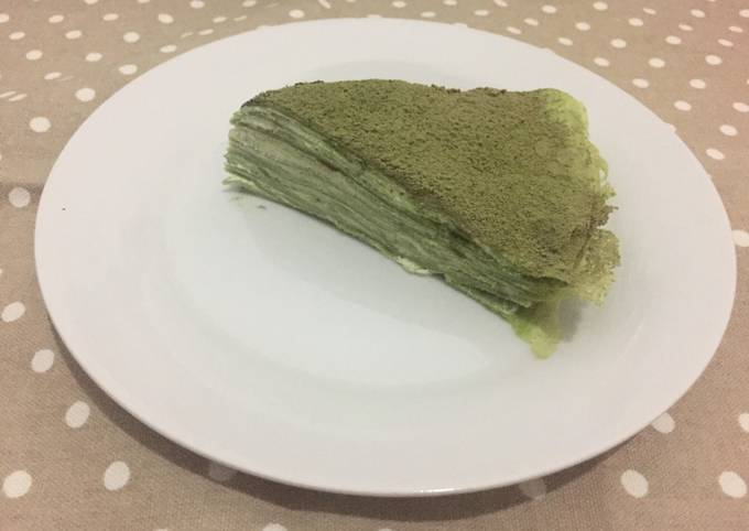 Recipe: Delicious 1 egg only Matcha mille crepes
