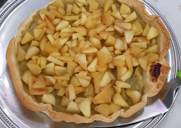 Tarte rhubarbe et pommes caramélisées