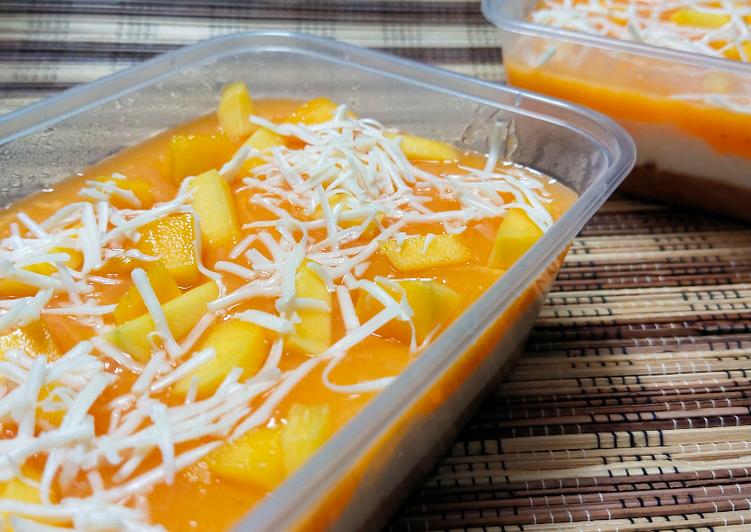 Bagaimana Membuat Manggo Cheese Dessert Box Simpel Takaran Gelas dan Sendok Anti Gagal