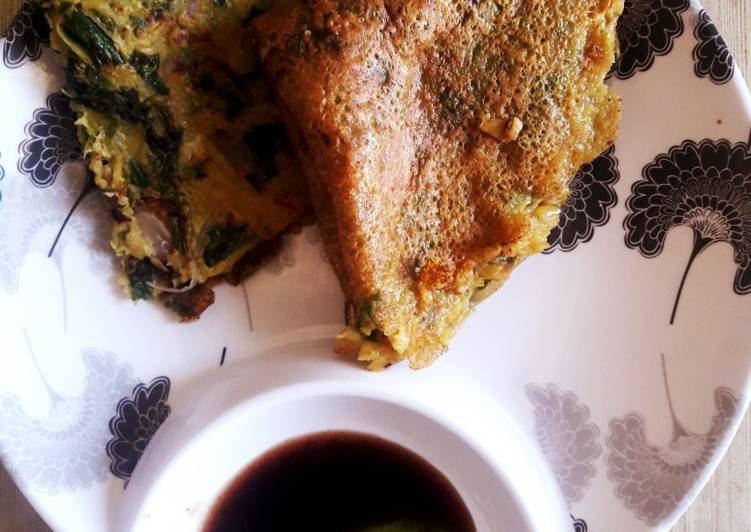 Palak cheela with Guava chutney