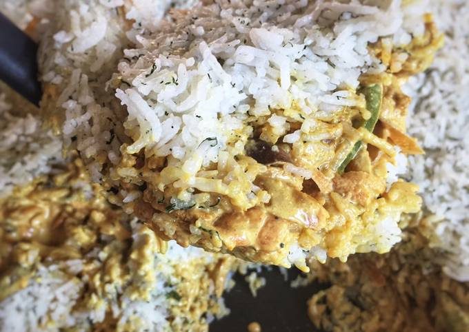 Dill rice with creamy chicken