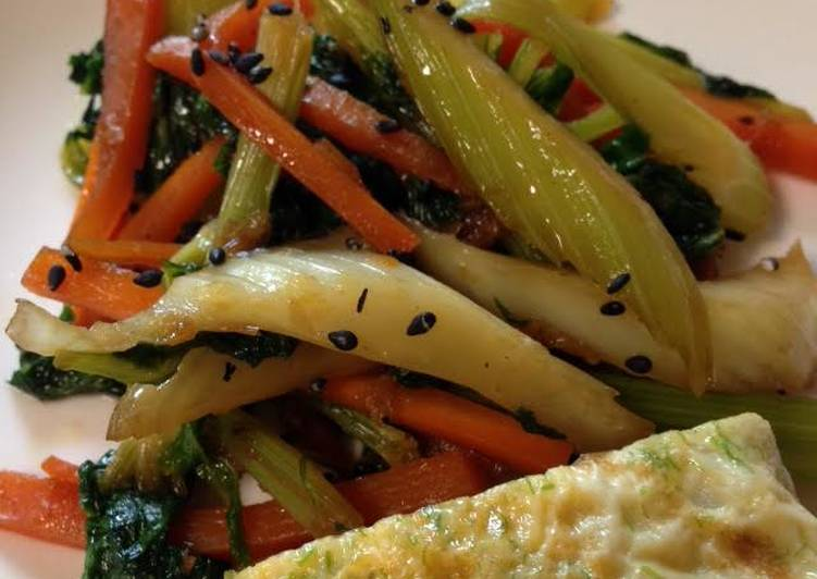 Celery & Carrot Kimpira Stir-fry