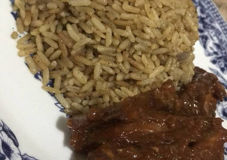 Easiest Way to Make Yummy Brown rice with sweet and chilly chicken