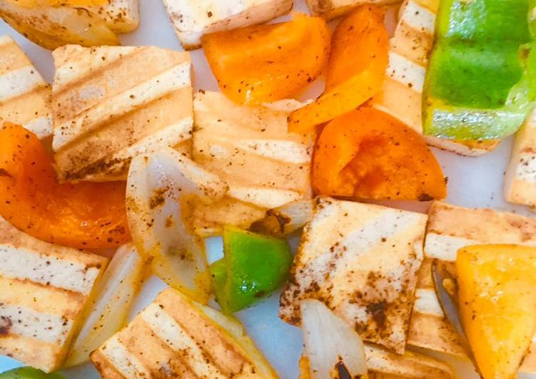 Grilled tofu with veggies
