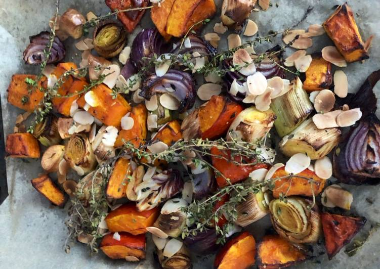 Steps to Make Award-winning Roast squash, leek and red onion - vegan