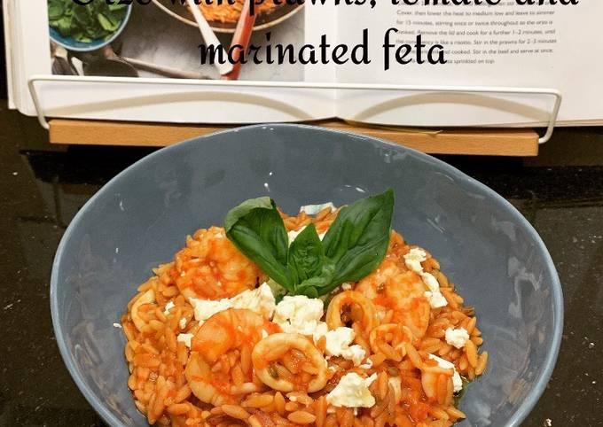 Orzo à la tomate, crevettes et fêta marinée  Recette du chef ottolenghi @4PassionFood