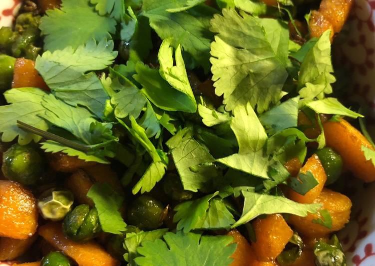 Coriander carrots and peas - vegan
