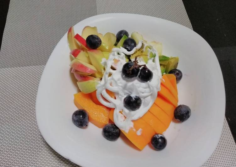 How to Prepare Speedy Mixed fruits with double cream#12weeksjikonichallenge