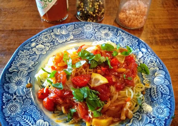 "Angel hair pasta with lemony tomato ""jam"" (vegan)"