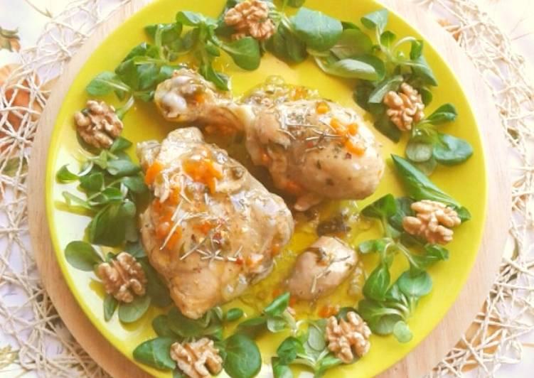 Pollo alle verdure con contorno di valeriana e noci (ricetta light)