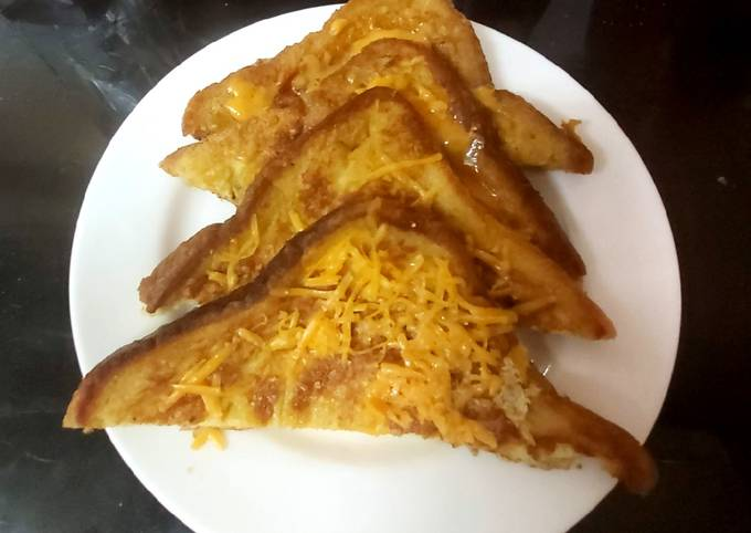 My Eggy Bread with a little Grated Cheese, Quick and Easy too 😘