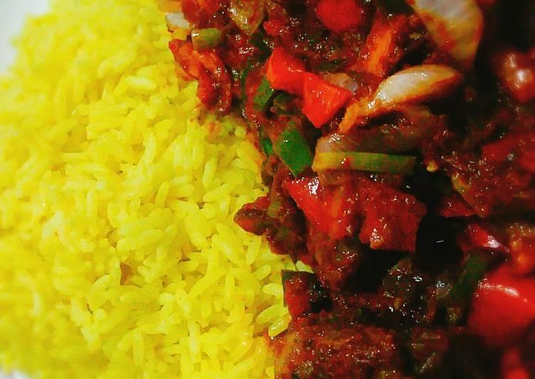 Tumeric rice n gizzard vegetables
