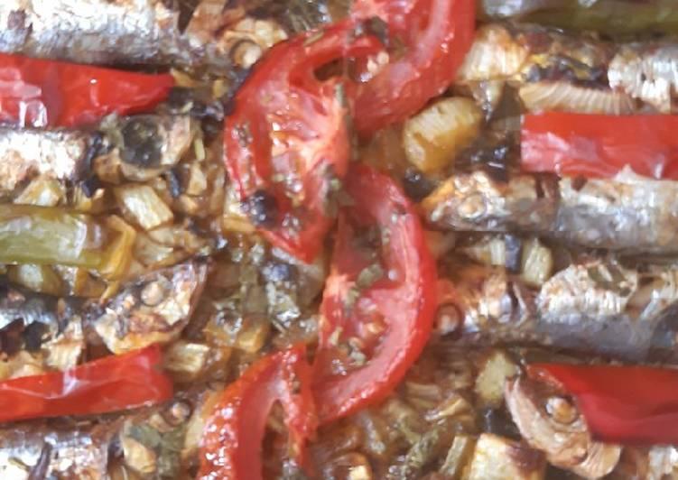 Sardinas al horno con verduras