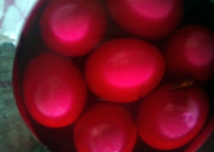 Step-by-Step Guide to Prepare Homemade cerise,tickled, pickled eggs