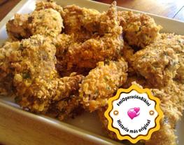 Alitas de pollo crujientes al horno rebozadas en cornflakes