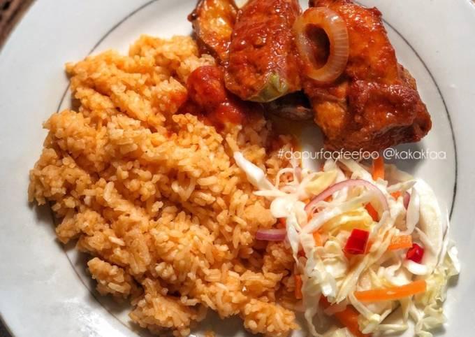 Cara Gampang Membuat Nasi Tomato, Ayam dan Terung Masak Merah & Acar Kobis yang Lezat