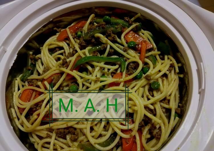 Simple stir fry spaghetti