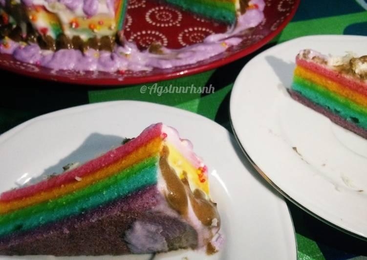 Rainbow Cake Kukus lembut