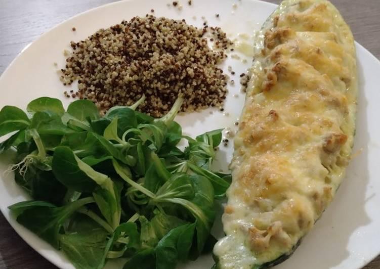 Cheesy filled zucchini with quinoa