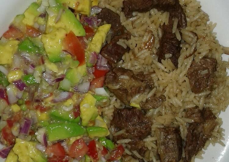 Beef pilau and guacamole