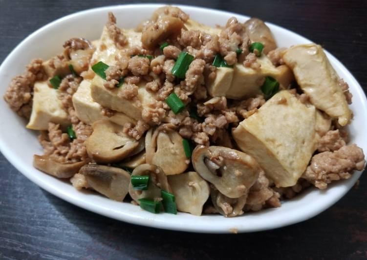 Chinese Mushroom Tofu Minced Pork Stir Fry 香菇碎豬豆腐
