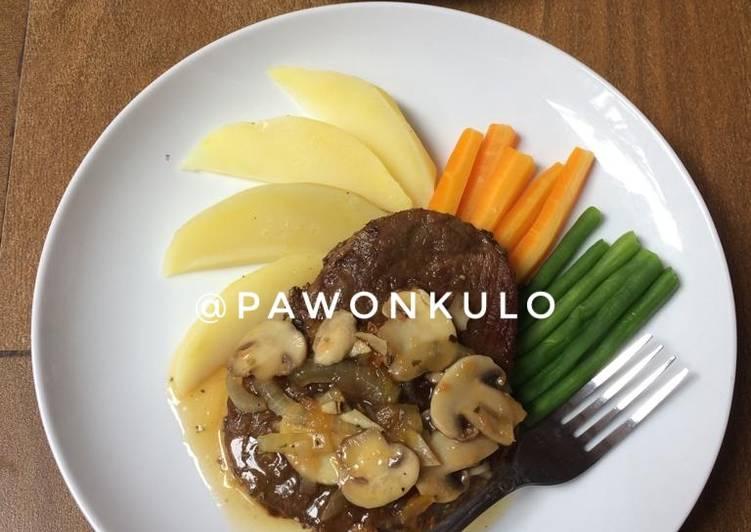 Meltique Beef Steak Saus Jamur Rumahan